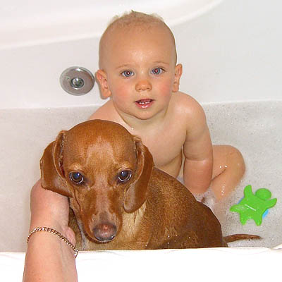 sampson-taking-bath-with-caden